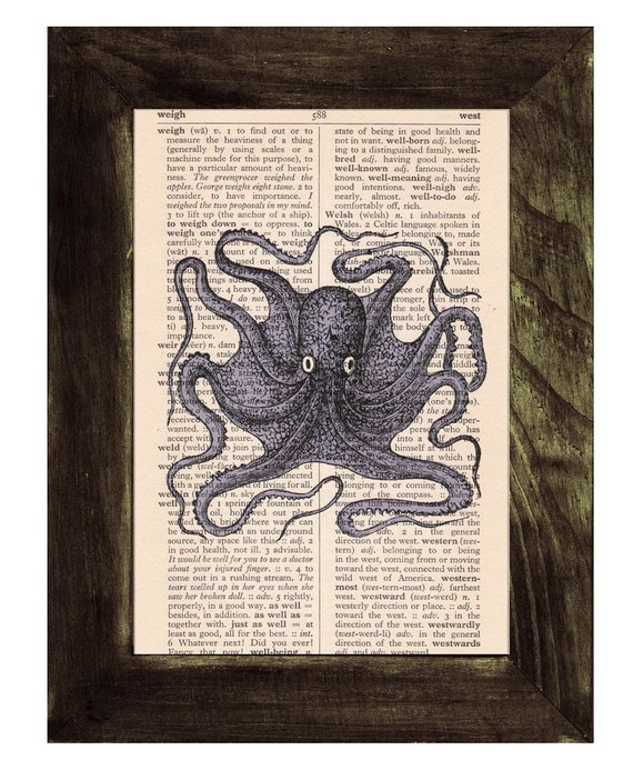 Octopus Book Print on Vintage Book SEA016