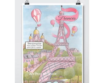 Personalized Baby Name - Girl Baby Shower Gift - Baby Girl Gift Idea - Pink Eiffel Tower Nursery Wall Art - Paris Bedroom Decor - 6 Sizes