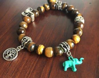 Aqua Elephant Bracelet. Elephant Bracelet. Charm Bracelet. Tigereye Bracelet.