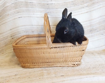 Vintage wicker Easter basket/70s straw basket with handle