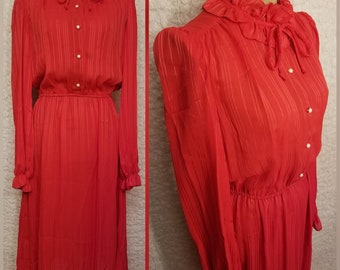 """Vintage Sheer Polyester Rouge Ruffled Dress; """"Items California"""""""