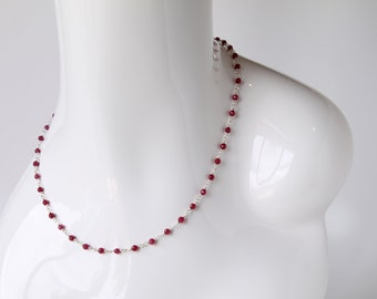 Ruby Necklace with Sterling Silver