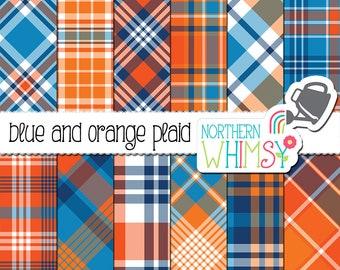 Boys Digital Paper - Blue and Orange Plaid - tartan scrapbook paper - orange and blue seamless plaid patterns - commercial use - CU OK