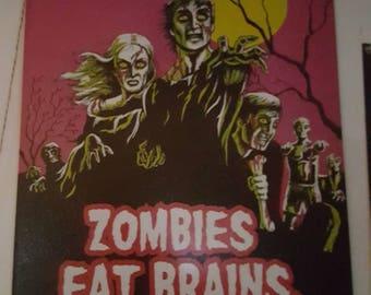 Zombie tin sign