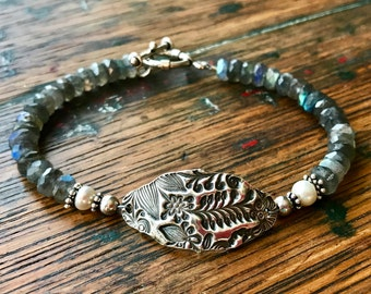 Labradorite, Freshwater Pearl, Sterling Silver and PMC Bracelet