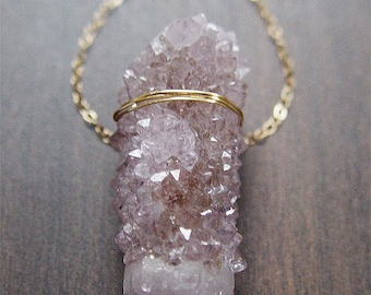 Lavender Spirit Quartz Druzy Necklace