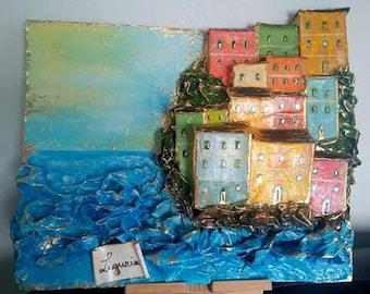 Liguria Gold papier-mâché panel in oil painted