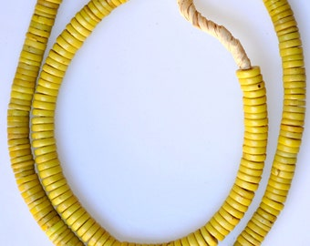 Old 8mm Yellow Bohemian Glass Disc Beads - Vintage African Trade Beads - 24 Inch Strand