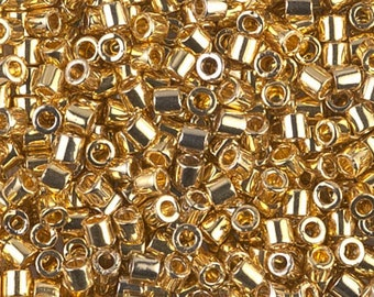 Japanese Miyuki Delica 8/0 Beads - DBL-31 Gold Plated. Gold Delica Beads. Gold Seed Beads.