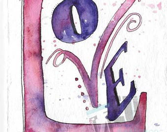 Watercolor Word Series – LOVE