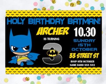 Batman birthday invitation, Personalized birthday invitation for digital download