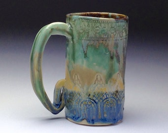 Huge Ceramic mug, wonky funky mug, handmade Beer Stein, tall coffee cup, hand built pottery,aqua green blue,runny drip glaze, big coffee mug