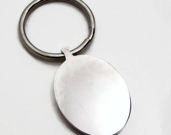 Stainless Steel Keychain Blank, Oval Stamping Blank, Oval Keychain, Metal Keychain Blank, 32x25mm, Hand Stamping Blank, Engraving Blank