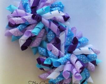 Purple & Blue Korker Bow, Polka Dot Korker Bow, Purple Korker Bow, Blue Korker Bow, Korker Pigtail Bows, Small Korker Bow, Large Korker Bow