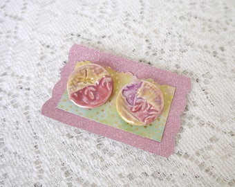 Set of 2 Large Round Ceramic Clay Buttons, Shank Style, Yellow, Lavender and Rose Pink Luster Glaze