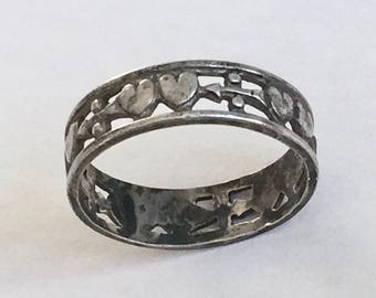 vintage double heart and arrow sterling band, size 5