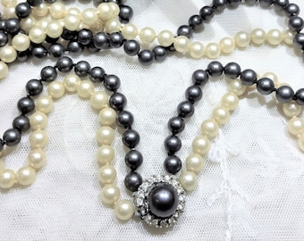 Vintage Crown Trifari Double Strand of Faux Pearl and Tahitian Faux Pearl Strand