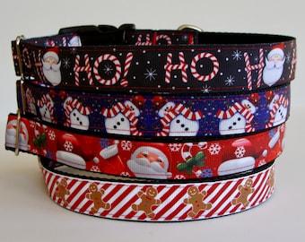 READY TO SHIP! Christmas Dog Collars Santa, Snowman, Gingerbread Cookie, Candy Cane Stripe, Ho Ho Ho