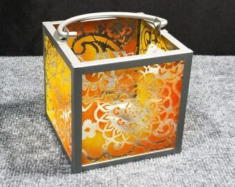 """Candle Lantern - Paisley Mandala pattern, orange/yellow, 6x6"""""""