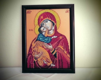 """Pearl Icon """"Mother of God M. Jesus"""", framed/unique"""