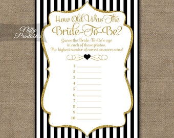 how old was the bride game black gold bridal shower games printable guess her age bridal game gold black how old is the bride game bgl