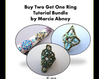 Buy 2 Get 1 FREE - Beadweaving Tutorial Bundle Beading Instructions Beaded Rings Handmade Lessons PDF Peyote Herringbone Tutorials