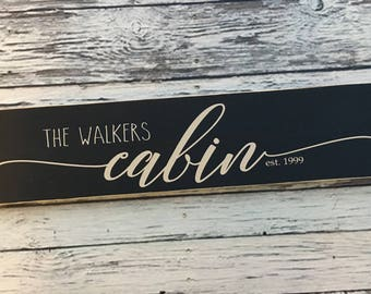 cabin | personalized cabin sign | painted sign | cabin house decor | Wood Sign | home decor | cabin wood sign | Style# HM225