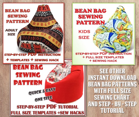 Bean Bag Cover Sewing Pattern Easy BEAN PDF 3 Details Full Size Template Baby Teen Toddler Adult Kids Beanbag Chair Download