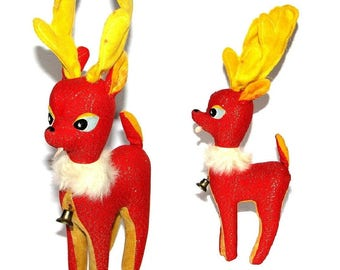Vintage 50s 60s Red & Yellow Stuffed Christmas Reindeer- Made In Japan