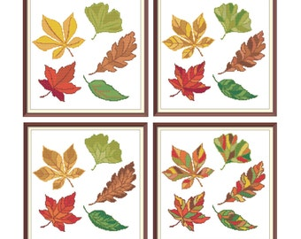 Leaves Modern Cross Stitch Pattern PDF Chart Set of 4 Autumn Leaves Designs