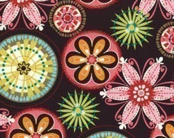 Michael Miller Carnival Bloom Brown Fabric - By the Yard