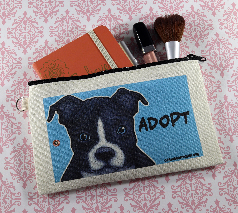 a240b9513c4b Make Up Bag, Zipper Bag, Pencil Bag, Pitbull Bag, Rescue Bag, Dog Bag,  Pitbull Design, Canvas Bag, Dog Design Canvas Bag, Adopt