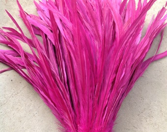 """Fuchsia Rooster Tail Feathers.. 3"""" Pack 15""""-17"""" In Length"""