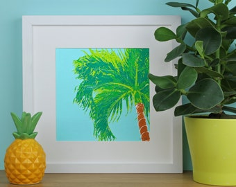 Tropical Palm Tree Screen Print, Palm Tree Screenprint, Square Screenprints, Hawaiian Art Print, Tropical Paradise Art Print, Plant Art