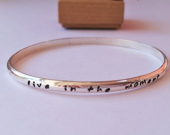 Handmade Solid Silver Bangle  - Personalised with a Name or Quote 4mm wide