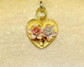 Flower Enamel Heart Pendant 22k Antique
