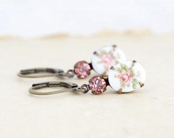 Peach Earrings - Cameo Earrings - Floral Earrings - Drop Earrings - Sweet Earrings - Bridal Earrings - Vintage Wedding - Gift For Her