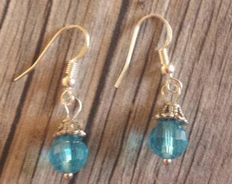 Aqua Blue Earrings, Blue Earrings, Crystal Dangle Earrings, Shimmering Earrings, Hookwire Earrings, Blue Crystal Earrings, Crystal Earrings