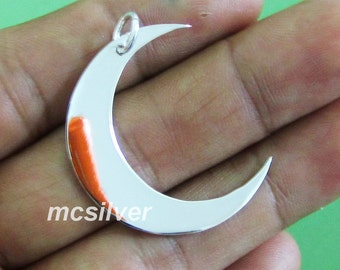 Shiny 925 Sterling Silver Crescent Moon Charm, Moon Pendant For Chain Necklace Silver Moon Pendant Simple Everyday Jewelry Classic Pendant