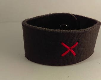 Black Bull Hide Leather Bracelet w/ Snap Closure