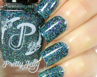 Holographic Glitter Nail Polish, Indie Nail Lacquer, Teal Blue Holo Nail, Multichrome Flakie, Custom Nail Color, Gift for Her, Vegan, HARUKI