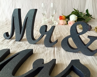 "4"" Mr & Mrs, 5"" Mr and Mrs wooden letters, 6"" Wodden Mr and Mrs, 7"" Mrs and Mr sign,  Glitter, Gold, Silver, Royal Blue Glitter wedding sign"
