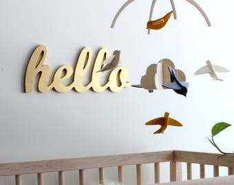 Nursery Mobile - 100% Merino Wool Felt - Baby Mobile - Rich, Lightfast Colors - Heirloom Quality - Yellow, Gray and White Birds
