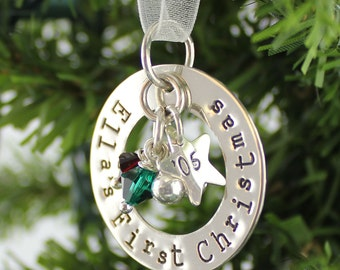 First Christmas hand stamped and personalized sterling silver ornament with crystals and jingle bells
