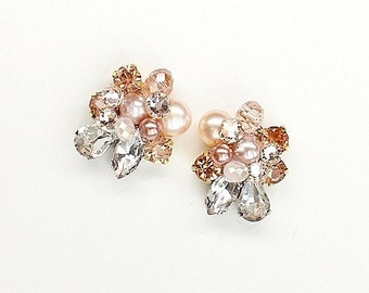 Rose Gold Earrings- Art Deco Bridal Studs- Blush Bridal Studs- Cluster Earrings- Rose Gold Studs- Rhinestone Studs- Vintage Inspired Studs