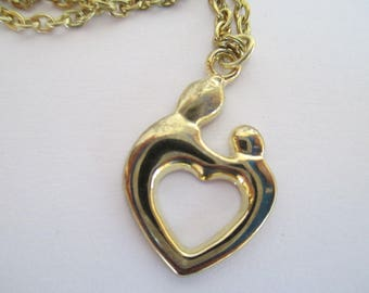 Mother and Child,  Vintage,  Heart,  Pendant,  Necklace,  on Goldish Chain - 20""