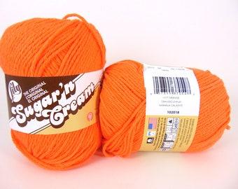 Hot Orange - Lily Sugar'n Cream Super Size Solids Cotton Yarn