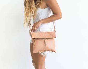 Beige Leather Foldover Over Bag, Pink Crossbody Purse, Summer Crossbody, Leather Fold Over Handbag