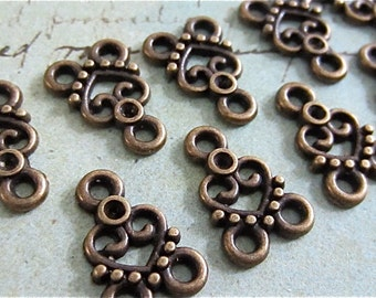 10 Fancy Heart Necklace Links - Antique bronze Connectors - Filagree - Filigree Links (ABHFL)
