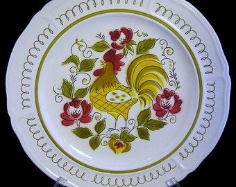 12\  Mikasa Heritage chop plate / platter ~ 1970s Rooster pattern ~ Terra Stone dinnerware & Olive dinnerware | Etsy